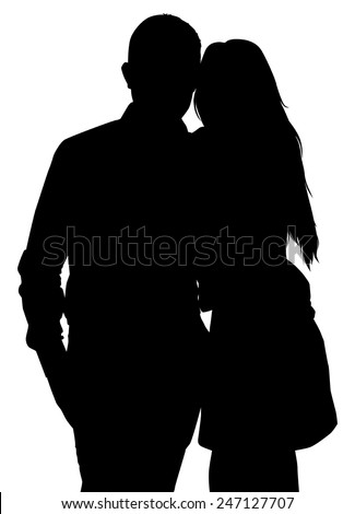 silhouette of a couple on white background vector - stock vector