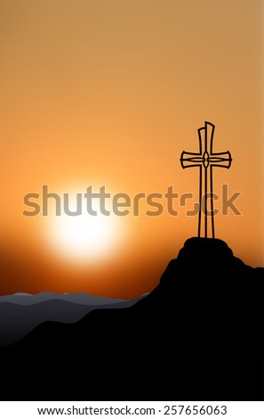 Silhouette of a cross on top of a mountain at sunset - vector illustration - stock vector