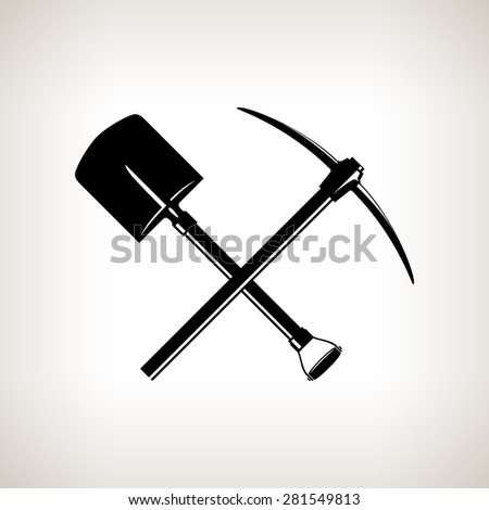 Silhouette of a Crossed Shovel and Pickaxe on a Light Background,Hand Tool with a Hard Head Attached Perpendicular to the Handle ,a Tools for Excavation,Black and White Vector Illustration - stock vector
