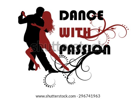 Silhouette of a dancing couple.  - stock vector