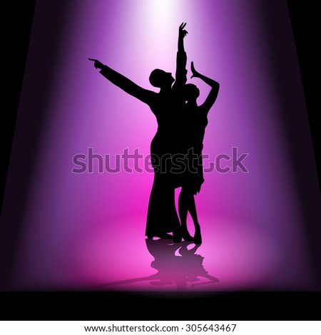 Silhouette of a dancing couple. Vector illustration - stock vector