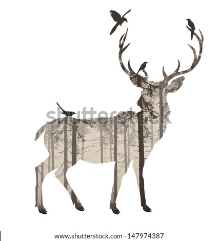 silhouette of a deer with pine forest and birds, browns, white background, vector illustration - stock vector