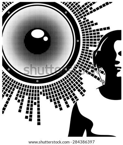 Silhouette of a DJ wearing headphones - stock vector