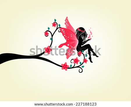 Silhouette Of A Fairy And Tree - stock vector