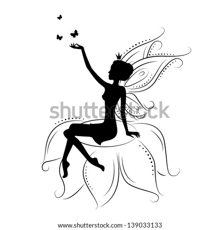 Silhouette of a fairy with butterfly. Vector illustration isolated on white background. - stock vector
