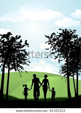 Silhouette of a family walking in the countryside - stock vector