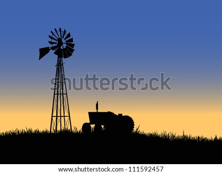 Silhouette of a farm tractor and windmill. - stock vector