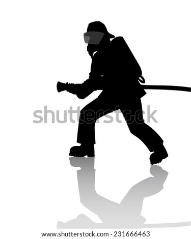 Silhouette of a firefighter in action - stock vector