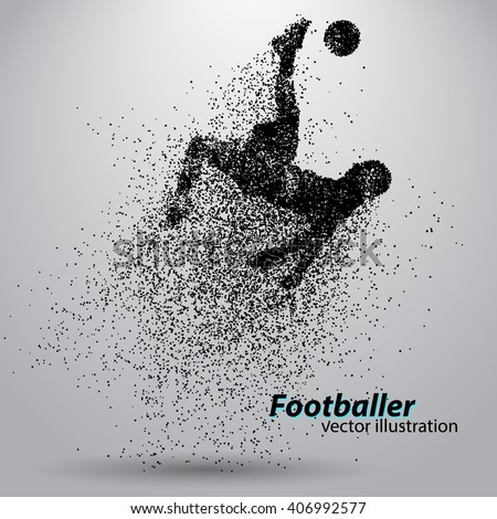 silhouette of a football player from particle - stock vector