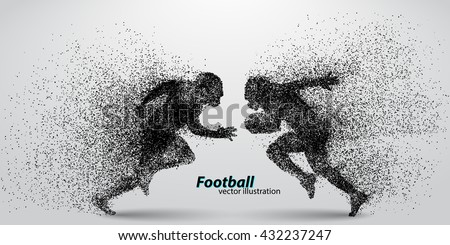 silhouette of a football player from particle. Background and text on a separate layer, color can be changed in one click. Rugby. American football - stock vector