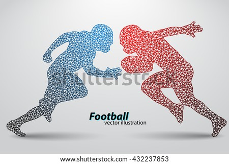 silhouette of a football player from triangle. Background and text on a separate layer, color can be changed in one click. Rugby. American football - stock vector