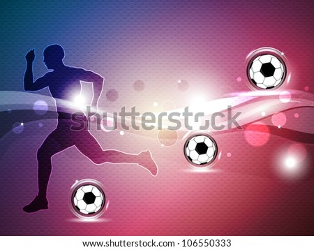 Silhouette of a football player with shiny soccer balls  on shiny wave background. EPS 10. - stock vector
