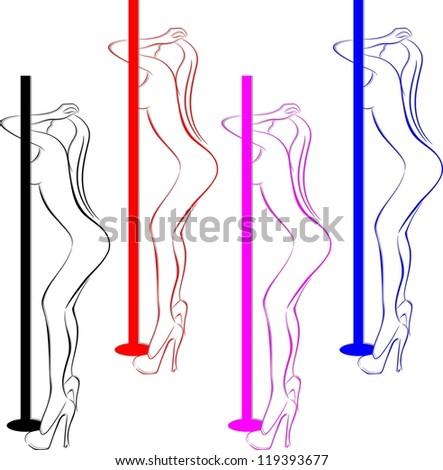 silhouette of a girl dancing striptease - stock vector