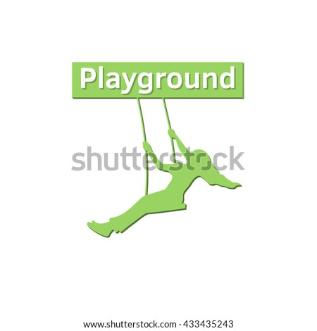 Silhouette of a girl on swing under the tree. Playground logo. Play the swing under the tree. Tree Logo Template. - stock vector