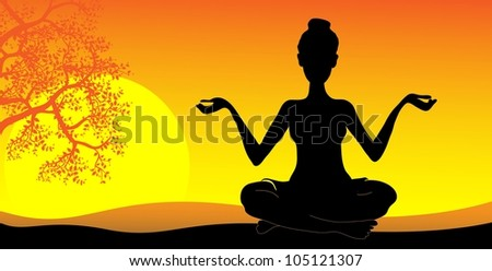 silhouette of a girl practicing yoga at sunset - stock vector