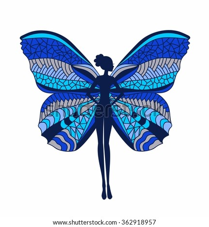 silhouette of a girl with colorful butterfly wings - stock vector