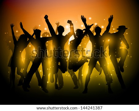 Silhouette of a group of party people dancing - stock vector