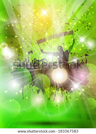 Silhouette of a grunge group of football supporters on an abstract background - stock vector