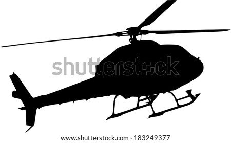 silhouette of a helicopter on white background - stock vector