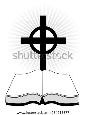 Silhouette of a holy bible with a cross on glowing background - stock vector