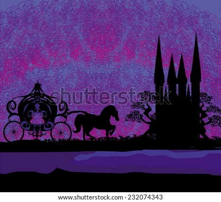 Silhouette of a horse carriage and a medieval castle  - stock vector
