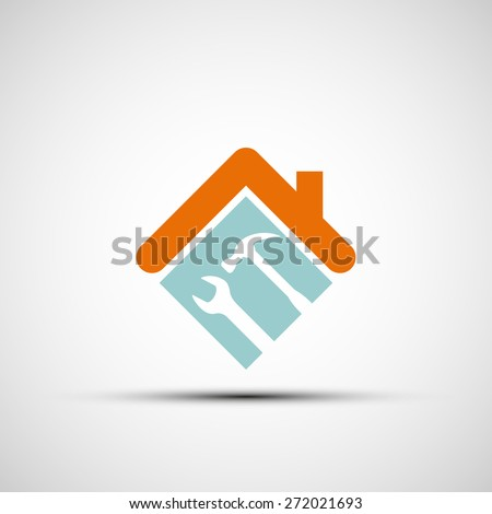 Silhouette of a house with a wrench and a hammer. Vector image. - stock vector