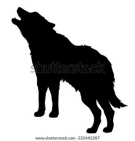 silhouette of a howling wolf or a dog barking, isolated object - stock vector