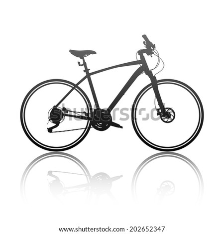 Silhouette of a hybrid bike - stock vector