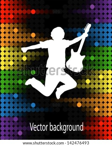 silhouette of a jumping man with a guitar on a background of multicolored equalizer - stock vector