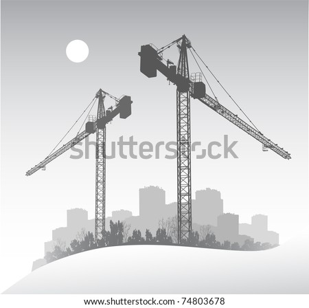 Silhouette of a large dockside construction crane - stock vector