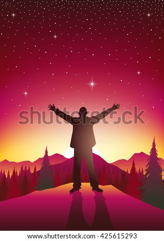 Silhouette of a man figure with open arms on top of hills during sunrise. Freedom, relief concept - stock vector