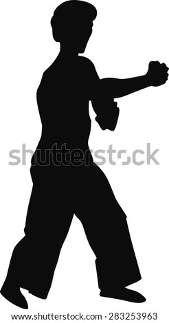 Silhouette of a man in black on a white background . - stock vector