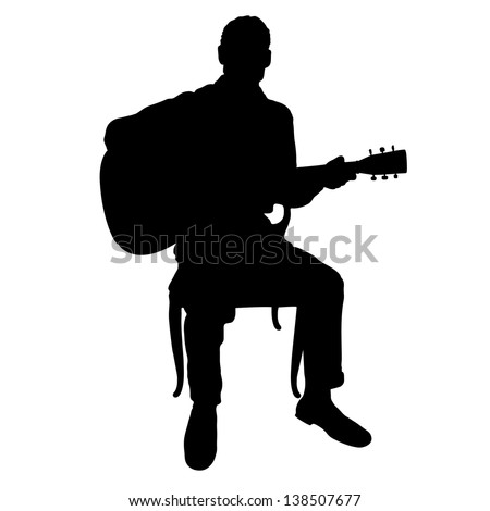 Silhouette of a man playing an acoustic guitar - stock vector