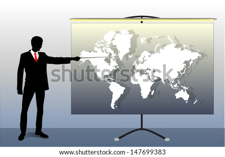 silhouette of a man pointing to the map - stock vector