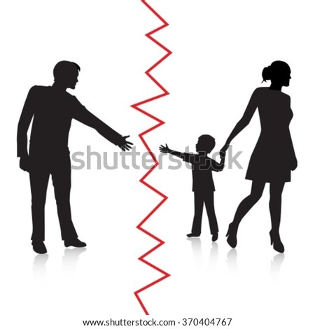 silhouette of a man reaching to his young child, but the mother removes the child to the other side and is separated from the father - stock vector