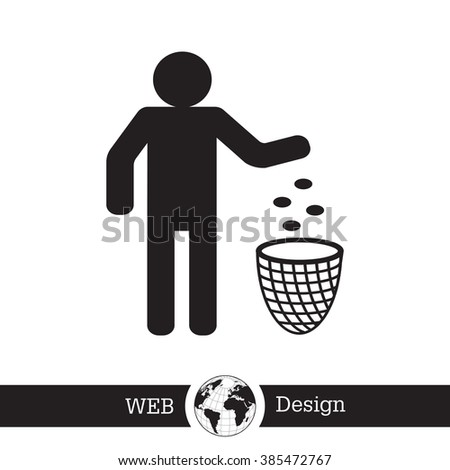 Silhouette of a man throwing garbage in a bin - stock vector
