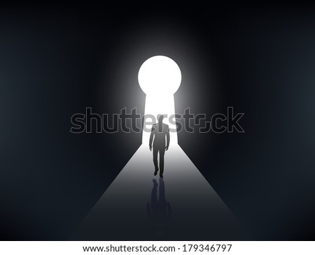 silhouette of a man walking in the light from the keyhole - stock vector
