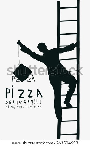 Silhouette of a man who climbs the stairs - stock vector