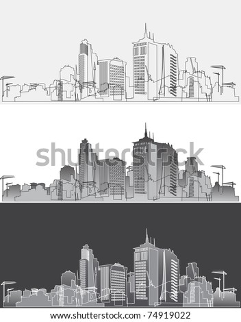 Silhouette of a modern city in three variants - stock vector