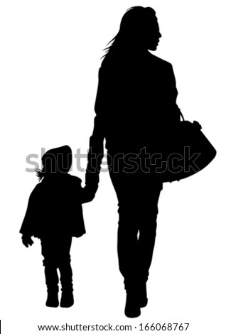 Silhouette of a mother and daughter on the walk.  - stock vector
