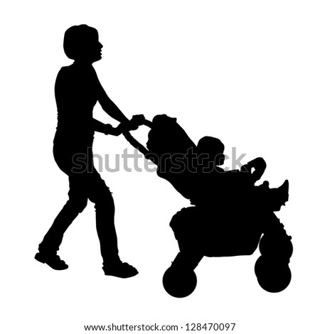 Silhouette of a mother with a stroller and a baby - stock vector