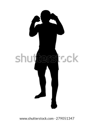 Silhouette of a muay thai or kickbox fighter in a guard stance on white background - stock vector