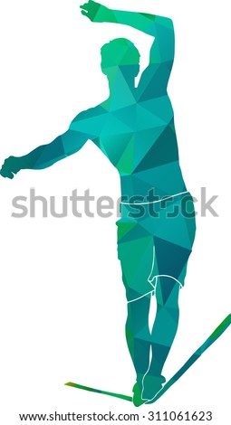 Silhouette of a muscled highliner walking on the tightrope in blue triangles - stock vector