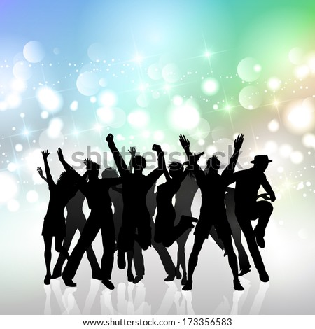 Silhouette of a party crowd on a bokhe lights background - stock vector