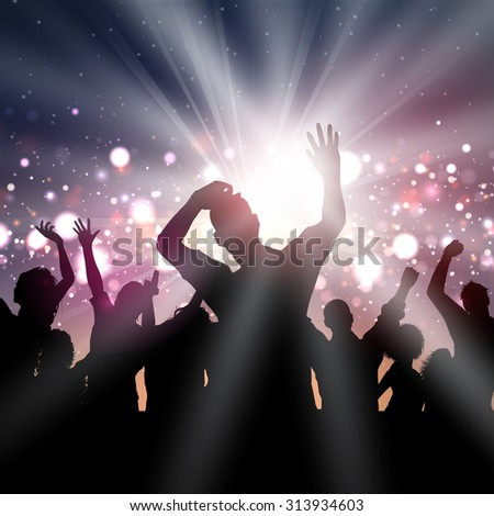 Silhouette of a party crowd on a disco lights background - stock vector
