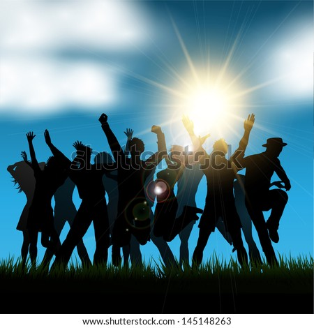 Silhouette of a party crowd outside - stock vector