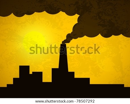 Silhouette of a pipe factory which emits dark smoke - stock vector