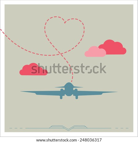 Silhouette of a plane with heart, vintage romantic card - stock vector