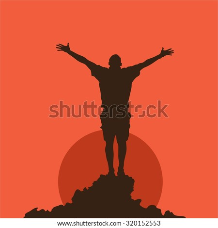 Silhouette of a praying man at sunset - stock vector