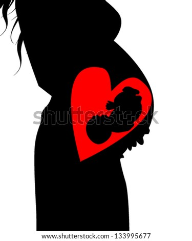 silhouette of a pregnant woman - stock vector